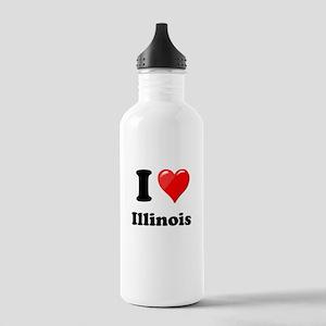 I Heart Love Illinois Stainless Water Bottle 1