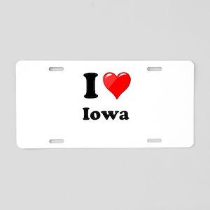 I Heart Love Iowa Aluminum License Plate