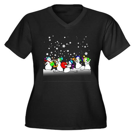 Snowman band Women's Plus Size V-Neck Dark T-Shirt