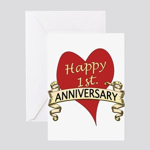 1st wedding anniversary greeting cards cafepress 1st anniversary greeting cards m4hsunfo