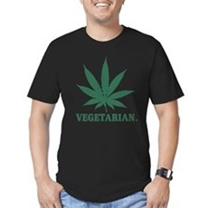 Vegetarian Cannabis Men's Fitted T-Shirt (dark)