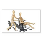 Office Chair Race Sticker (Rectangle 10 pk)