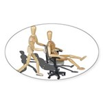 Office Chair Race Sticker (Oval 50 pk)