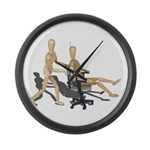 Office Chair Race Large Wall Clock