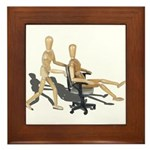 Office Chair Race Framed Tile