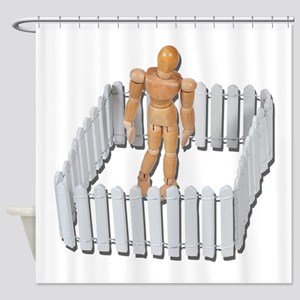 Isolated in White Picket Fence Shower Curtain