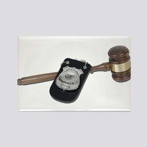 Police Badge and Gavel Rectangle Magnet
