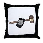 Police Badge and Gavel Throw Pillow