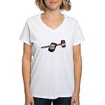 Police Badge and Gavel Women's V-Neck T-Shirt