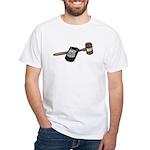 Police Badge and Gavel White T-Shirt