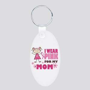 Wear Pink 4 Mom Aluminum Oval Keychain