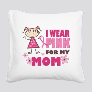 Wear Pink 4 Mom Square Canvas Pillow