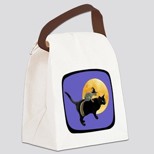 Witch Squirrel Cat Blue Canvas Lunch Bag