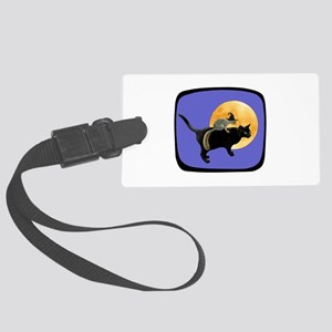 Witch Squirrel Cat Blue Large Luggage Tag