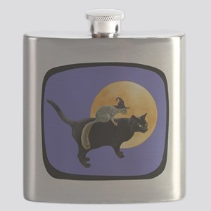 Witch Squirrel Cat Blue Flask