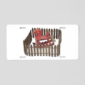 Rocking Horse in Paddock Aluminum License Plate