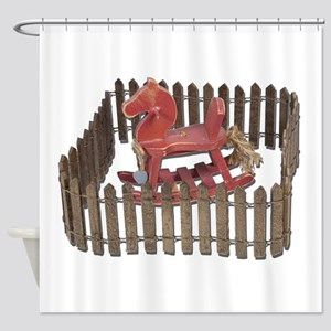 Rocking Horse in Paddock Shower Curtain