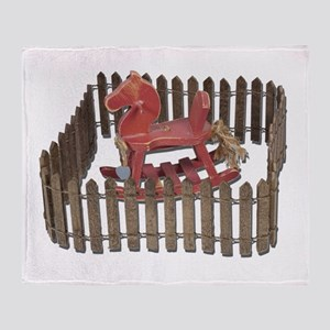 Rocking Horse in Paddock Throw Blanket