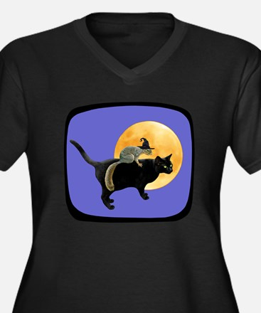 Witch Squirrel Cat Blue Women's Plus Size V-Neck D