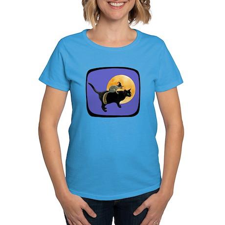 Witch Squirrel Cat Blue Women's Dark T-Shirt