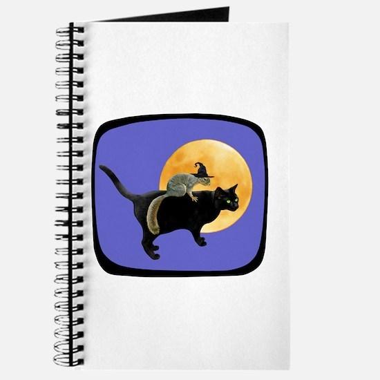 Witch Squirrel Cat Blue Journal