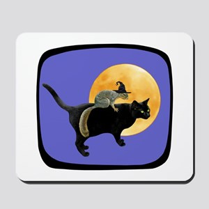 Witch Squirrel Cat Blue Mousepad