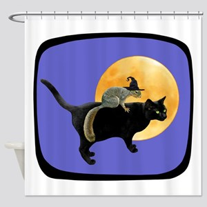 Witch Squirrel Cat Blue Shower Curtain