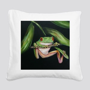 frog #3 tryptic tile Square Canvas Pillow