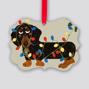 Dachshund (Blk/Tan) Tangled In Christmas Lights Pi