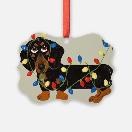 Dachshund (Blk/Tan) Tangled In Christmas Lights Pi