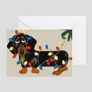 Dachshund (Blk/Tan) Tangled In Christmas Lights Gr