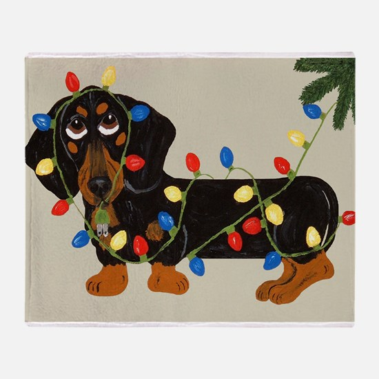 Dachshund (Blk/Tan) Tangled In Christmas Lights S
