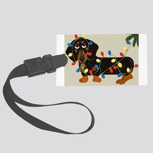 Dachshund (Blk/Tan) Tangled In Christmas Lights La