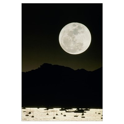 Full moon seen from Earth over mountains Poster