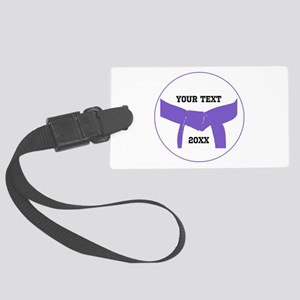 Custom Martial Arts Purple Belt Large Luggage Tag