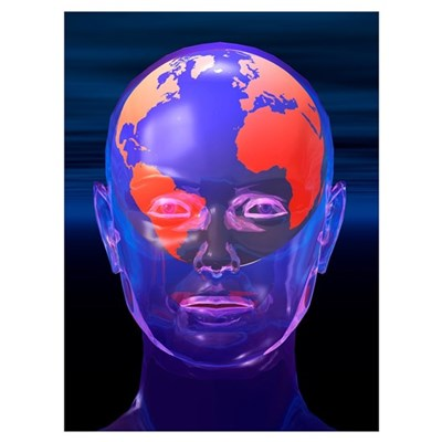 Global thought, conceptual artwork Poster