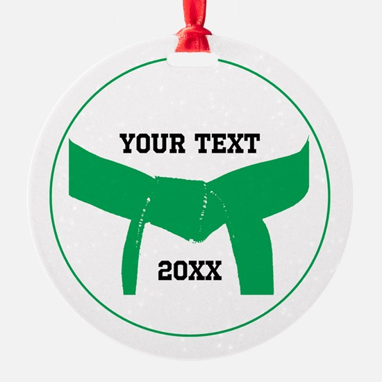 Custom Martial Arts Green Belt Ornament