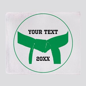 Custom Martial Arts Green Belt Throw Blanket