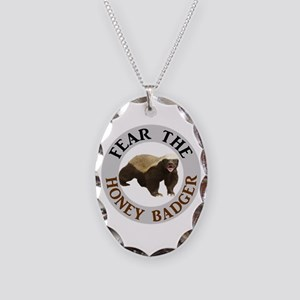 Honey Badger Fear Necklace Oval Charm