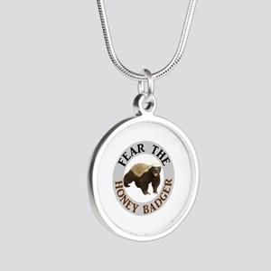 Honey Badger Fear Silver Round Necklace