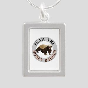 Honey Badger Fear Silver Portrait Necklace