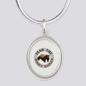 Honey Badger Fear Silver Oval Necklace