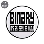 """Binary Is Easy 3.5"""" Button (10 pack)"""
