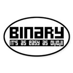 Binary Is Easy Sticker (Oval)