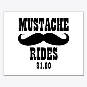 Mustache Rides Small Poster