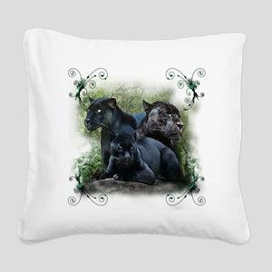 3-black jaguar Square Canvas Pillow