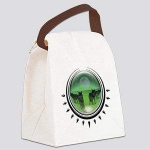 crystalball-wolves-green Canvas Lunch Bag