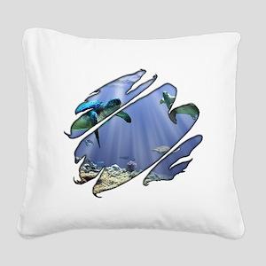 2-Seethru-Turtles Square Canvas Pillow
