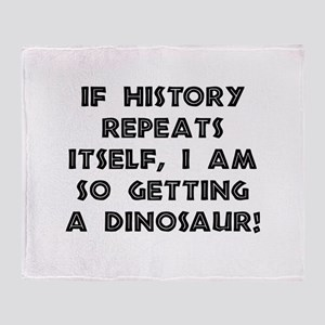 History Repeats Dinosaur Throw Blanket