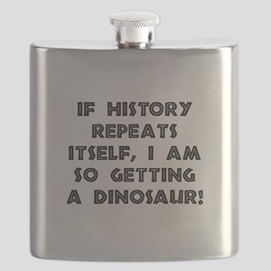 History Repeats Dinosaur Flask